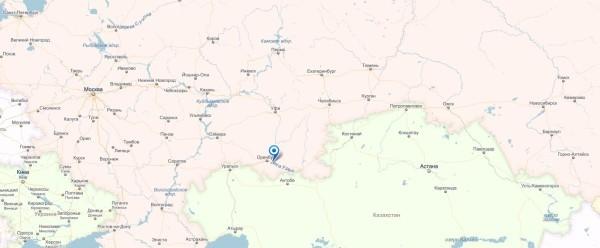 Река Урал на карте России