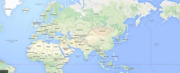 Монголия на карте мира