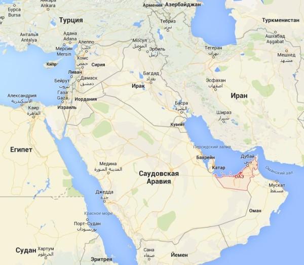 ОАЭ на карте мира фото
